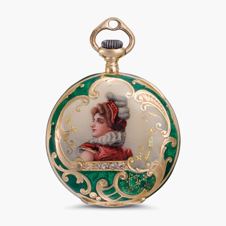 Tiffany & Co. Ladys Fine 18k gold, enamel and diamond-set open face Pendant Watch, circa 1905. Sold for $1,500 on 6 December 2016 at Christie's in New York