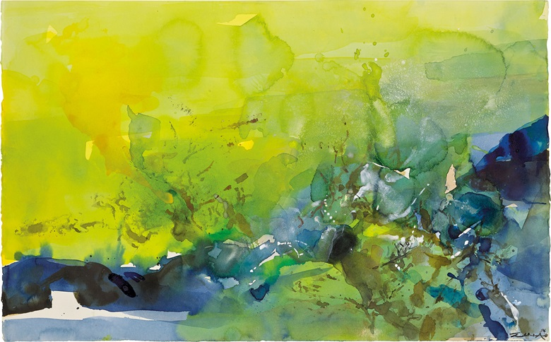 Zao Wou-Ki (ChinaFrance, 1920-2013), Untitled . Watercolour on paper, 35 x 56 cm (13¾ x 22 in). Estimate $80,000-100,000. This lot is offered in Asian 20th Century and Contemporary Art Online PaperEditions on 22-29 May 2017