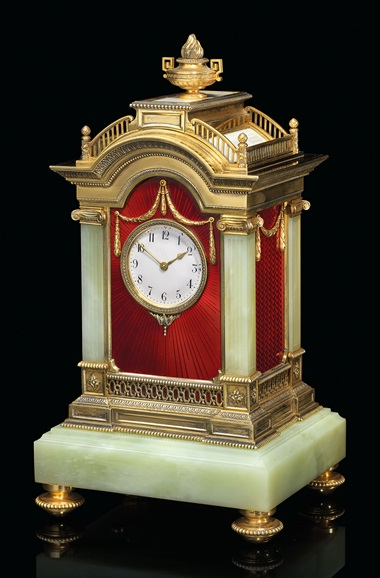 A highly important and impressive silver-gilt and guilloché enamel bowenite mantel clock marked Fabergé with the Imperial warrant. With the workmasters mark of Julius Rappoport, St Petersburg, 1899-1904, scratched inventory number 7532. Estimate £300,000-500,000. This work is offered in the Russian Art sale on 5 June at Christie's London