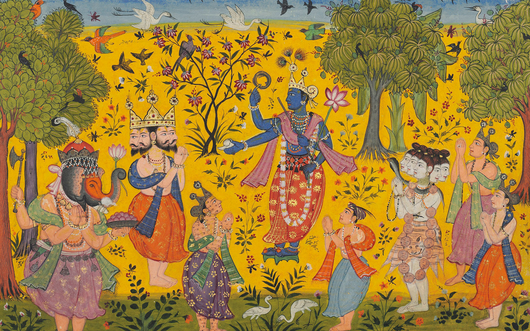 Detail from an illustration to a Ragmala series Shankara Ragaputra of Megha Raga, sub-imperial Mughal, North India, c. 1610-20. 8⅝ x 11¾ in (21.8 x 29.9 cm). Sold for £21,250