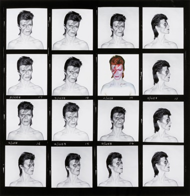 Brian Duffy (1933-2010), David Bowie, Aladdin Sane, contact sheet, 1973. Signed in ink and blindstamped archive credit (margin); credited, signed by Chris Duffy and numbered 4350 in ink in archive stamp (verso); and on accompanying Certificate of Authenticity, imagesheetflush mount 25 x 25 in (63.5 x 63.5 cm). Estimate £10,000-15,000. This lot is offered in Photographs on 18 May 2017 at