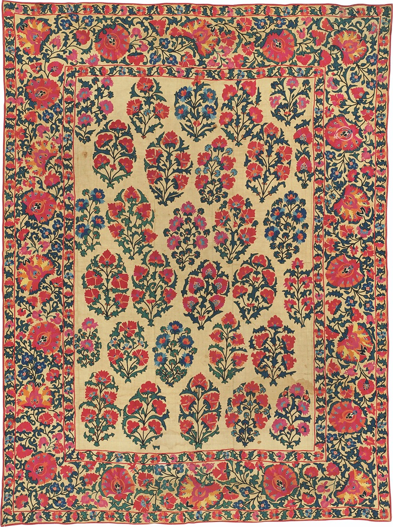 A suzani, Shakhrisabz area, Uzbekistan, mid-19th century. Rectangular form, central field with repeating garnet and blue floral sprays, border with dense floral frieze with flower, with original backing. 100 x 74 in (254 x 188 cm). Sold for £26,250 at Arts & Textiles of the Islamic & Indian Worlds, April 2017, London, South Kensington