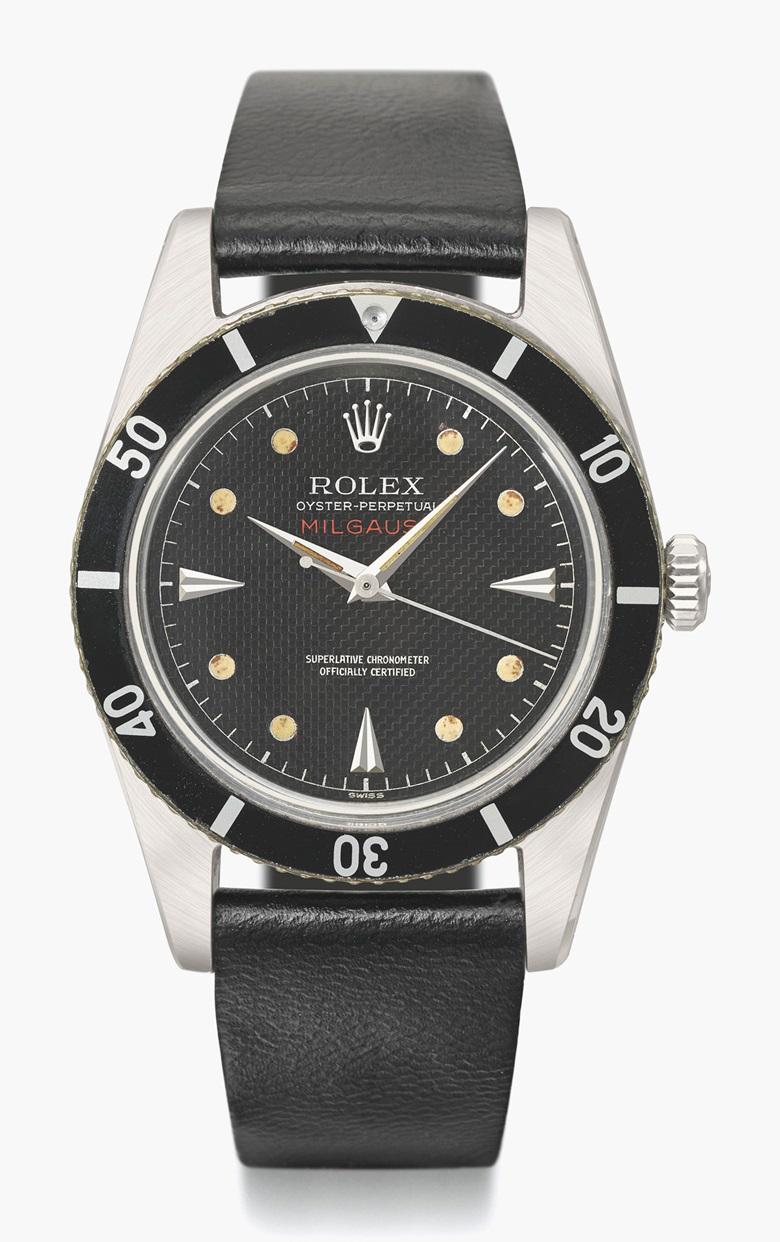 Rolex. An early, very rare and attractive stainless steel automatic anti-magnetic wristwatch with sweep centre seconds and honeycomb dial. Signed Rolex, Oyster Perpetual, Milgauss, Ref. 6543, Case no. 145'111, circa 1955. Estimate CHF150,000-250,000. This lot is offered in Rare Watches and a Rolex Afternoon on 15 May 2017 at Christie's in Geneva