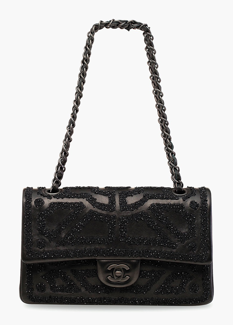 A black bead embroidered lambskin leather Flap Bag with black hardware. Chanel, 2011. 25 w x 15 h x 6 d cm. Estimate HK$10,000-15,000. This lot is offered in Handbags & Accessories  on 31 May 2017 at Christie's in Hong Kong