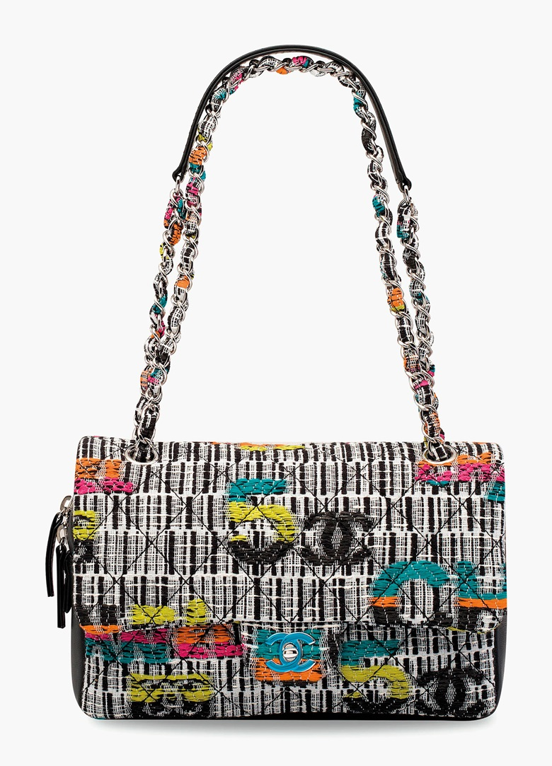 A black, white & multicolour Fantasy Tweed Flap Bag with silver hardware. Chanel, 2015. 32 w x 17 h x 7 d cm. Estimate HK$15,000-20,000. This lot is offered in Handbags & Accessories  on 31 May 2017 at Christie's in Hong Kong