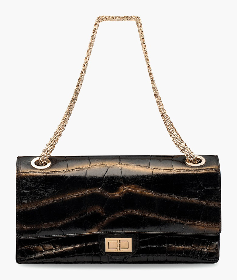 A limited edition Mobile Art HK by Karl Lagerfeld shiny black & gold Metallic Alligator 2.55 Double Flap 228 Bag with gold hardware. Chanel, 2008. 35 w x 19 h x 11 d cm. Estimate HK$80,000-100,000. This lot is offered in Handbags & Accessories  on 31 May 2017 at Christie's in Hong Kong