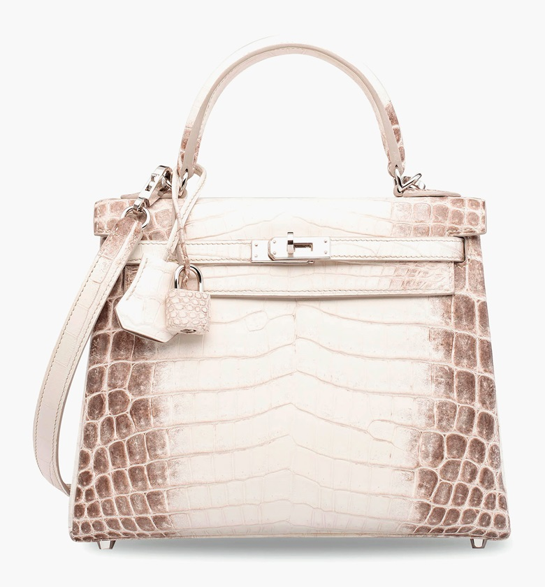 A rare matte white Himalaya Niloticus Crocodile Retourné Kelly 25 with palladium hardware, Hermès, 2015. 25 x 18 x 9 cm. Sold for HK$1,187,500 in Handbags & Accessories on 31 May 2017 at Christie's in Hong Kong
