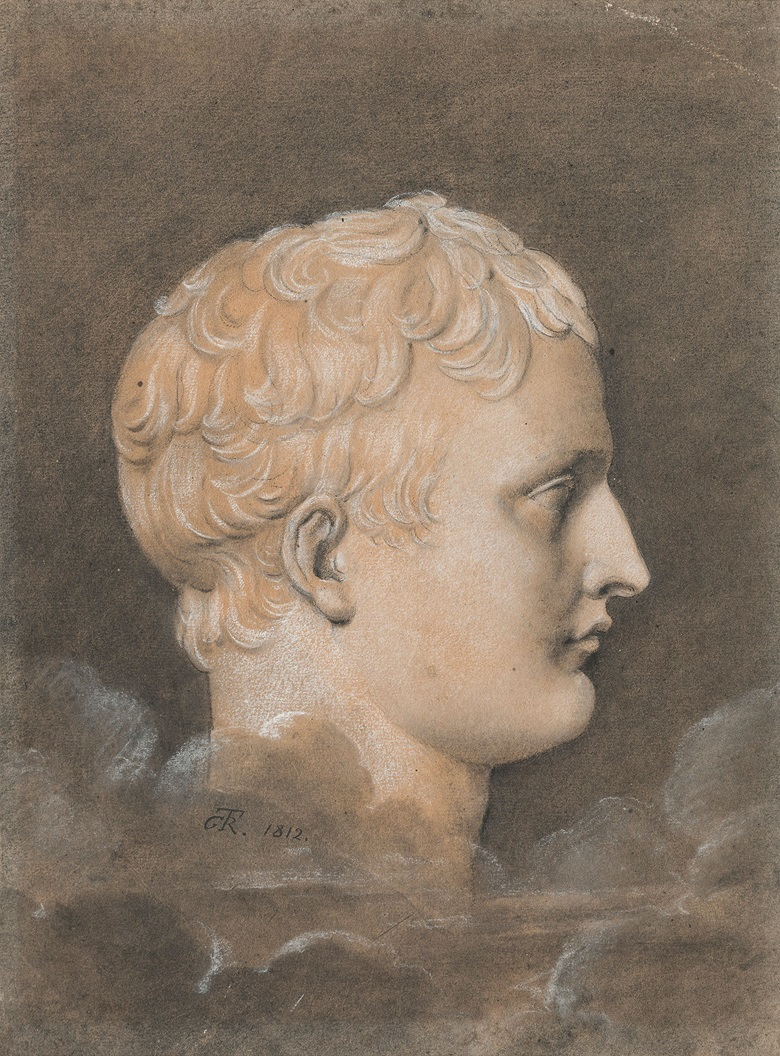 Anne-Louis Girodet de Roucy-Trioson (1767-1824), a sculpted portrait of Napoleon Bonaparte in profile. Black chalk and white chalk, grey and brown wash. 14¼ x 10½ in (36.1 x 26.8 cm), 14 x 10¼ in (35.5 x 26 cm). Estimate £10,000-15,000. This lot is offered in Interiors on 14 June 2017 at Christie's South Kensington