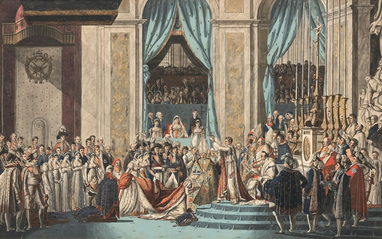Attributed to Benjamin Zix (1772-1811), after Jacques Louis David (1748-1825), The Consecration of the Emperor Napoleon and the Coronation of Empress Joséphine on December 2, 1804. Pen and black ink, watercolour, bodycolour and gum Arabic, over etched outlines. 22½ x 28¾ in (57 x 73 cm). After the painting in the Musée du Louvre, Paris. Estimate £1,500-2,500. This