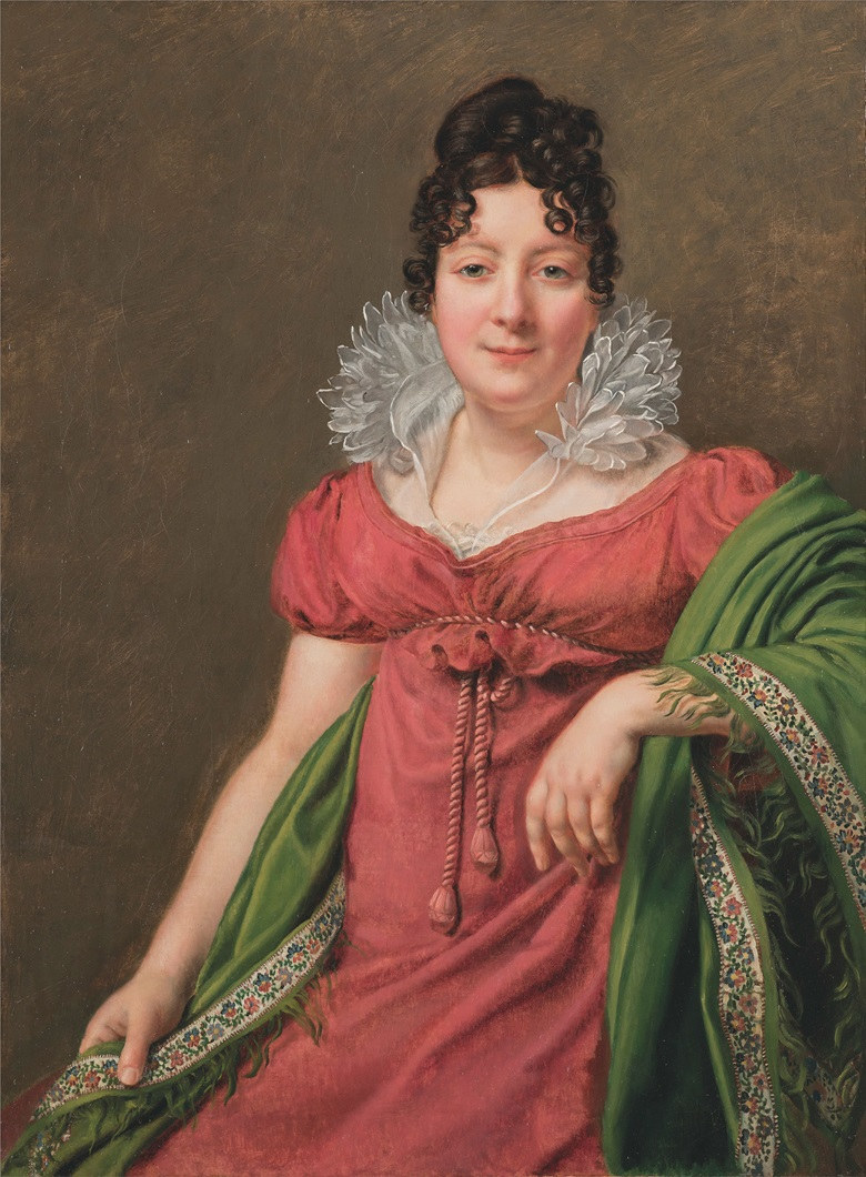 Henri-François Riesener (1767-1828), Portrait of Marie Thérèse Étiennette Bourgoin, sociétaire de la Comédie Française. Oil on canvas. 37⅝ x 28 in (95.5 x 71 cm). The work will be included in the catalogue raisonné of the artist in preparation by Philippe Nusbaumer and Alexis Bordes. Estimate £7,000-10,000. This lot is offered in