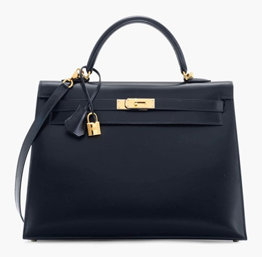 A black calf box leather Sellier Kelly 35 with gold hardware. Hermès, 2008. 35 x 25 x 13 cm. Estimate £4,000-6,000. This lot is offered in Handbags & Accessories on 12 June 2017 at Christie's in London, King Street  This bag has the exact specifications of the Kelly that Grace Kelly herself made famous when she used it to conceal her pregnancy — a true classic.