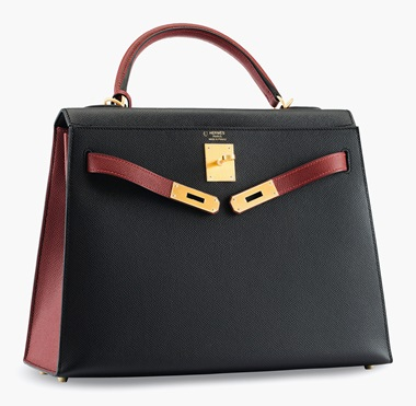 A custom black & rouge H epsom leather Sellier Kelly 32 with brushed gold hardware. Hermès, 2014. Estimate $12,000-15,000. This lot is offered in Handbags & Accessories, 13-22 June 2017, Online  Contrasting neutral tones, partnered with special-order hardware, make this HGB a timeless classic with an edge.