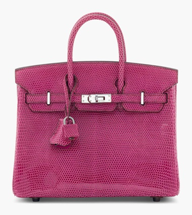 A fuchsia niloticus lizard Birkin 25 with ruthenium hardware. Hermès, 2006. 25 x 19 x 13 cm. Estimate £15,000-20,000. This lot is offered in Handbags & Accessories on 12 June 2017 at Christie's in London, King Street Quite possibly the ideal 'pretty in pink' purse, this HGB is highly desirable for its mini size and rare lizard skin.