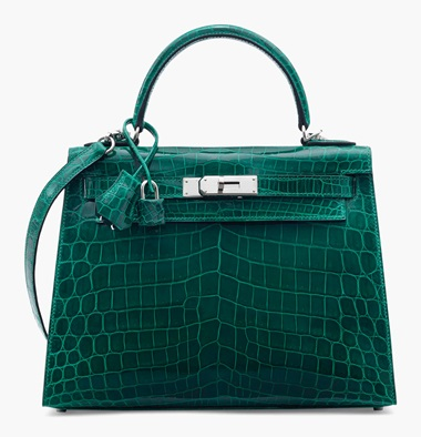 A shiny vert émeraude niloticus crocodile Sellier Kelly 28 with palladium hardware. Hermès, 2015. 28 x 20 x 10 cm. Estimate £20,000-30,000. This lot is offered in Handbags & Accessories on 12 June 2017 at Christie's in London, King Street A deep rich emerald colour combined with elegant size makes this a Holy Grail classic to be treasured both day and night.