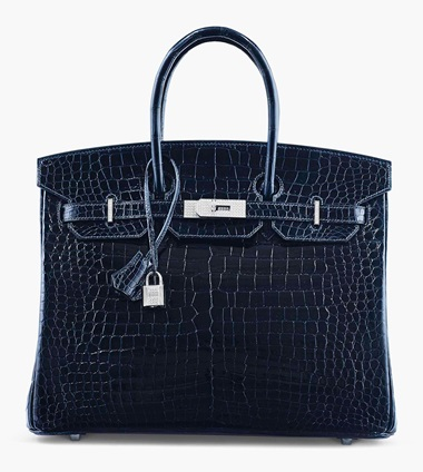 An exceptional shiny bleu marine porosus crocodile Diamond Birkin 35 with 18k white gold & diamond hardware. Hermès, 2007. 35 x 25 x 18 cm. Estimate £100,000-150,000. This lot is offered in Handbags & Accessories on 12 June 2017 at Christie's in London, King Street  This majestic beauty exudes a regal nature in its stately size and presence.
