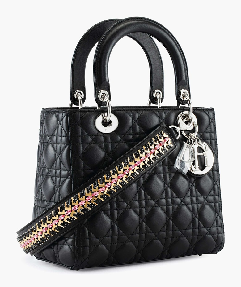 A black quilted leather Lady Dior medium bag with embellished strap & silver hardware, Christian Dior, 2016. Estimate $1,500-2,500. This lot is offered in the Handbags & Accessories Online sale, 13-22 June