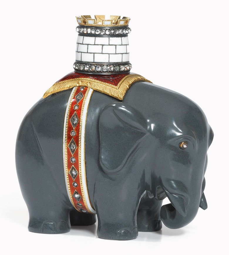 A jewelled gold-mounted Kalgan Jasper model of an elephant and castle by Fabergé, circa 1900, scratched inventory number 3218. Sold for £290,500 on 25 November 2013 at Christie's London