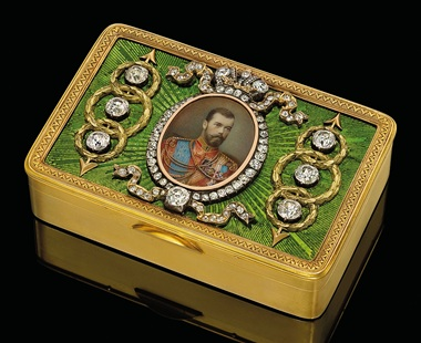 A rare and important three-colour gold and guilloché enamel imperial presentation snuff-box marked Fabergé, with the workmasters mark of Michael Perchin, St. Petersburg, circa 1890, scratched inventory number 999. Sold for £385,250 on 6 June 2011 at Christie's London