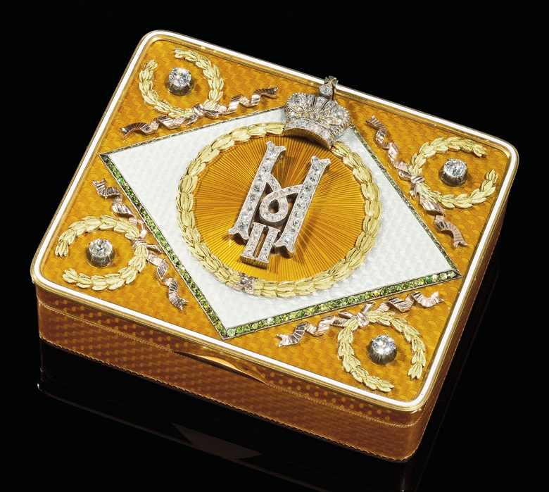 A jewelled two-colour gold and guilloché enamel imperial presentation snuff-box marked K. Hahn, with the workmasters mark of Carl Blank, St. Petersburg, 1899-1904. Sold for £481,250 on 28 May 2012 at Christie's London