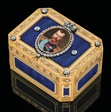 A rare and important jewelled three-colour gold and guilloché enamel imperial presentation snuff-box, marked Fabergé, with the workmasters mark of Henrik Wigström, St. Petersburg, 1908-1917, scratched inventory number 1978, the portrait miniature by Vasilii Zuev. Sold for £937,250 on 29 November 2010 at Christie's London