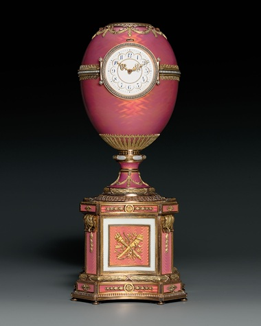 The Rothschild Egg. A jewelled vari-coloured gold-mounted and enamelled egg on plinth, incorporating a clock and an automaton by Karl Fabergé, workmaster Michael Perchin, St. Petersburg, dated 1902. Sold for £8,980,500 ($17,867,602) in November 2007 at Christie's in London, November 2007