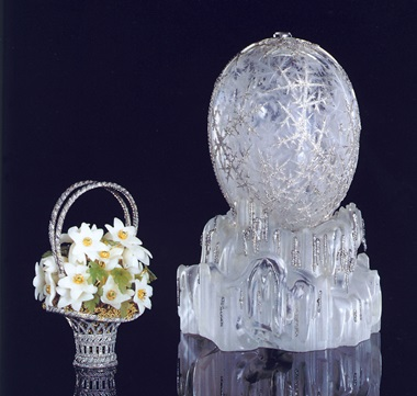 The Winter Egg. A highly important Fabergé Imperial Easter egg With original surprise given by Tsar Nicholas II to his mother, the Dowager Empress Maria Feodorovna at Easter 1913. Workmaster Albert Holmström, St. Petersburg, designed by Alma Theresia Pihl, the surprise engraved Fabergé 1913. Sold for $9,579,500 on 19 April 2002