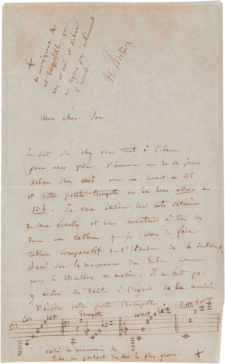 Hector Berlioz (1803-1869). Autograph letter signed [to Adolphe Sax], n.p., Paris, n.d., c. 1852. One page, 8vo (199 x 123 mm). (MOG 110). Estimate $3,500-5,000. This lot is offered in The Metropolitan Opera Guild Collection on 15 June 2017, at Christie's in New York