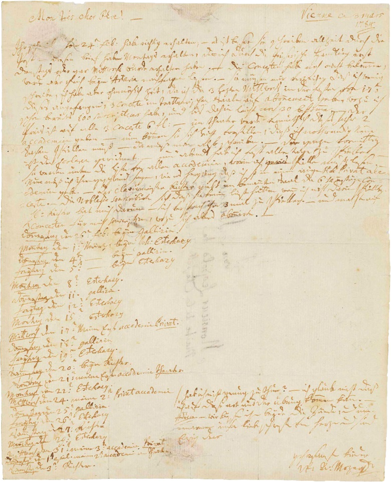 Wolfgang Amadeus Mozart (1756-1791). Autograph letter signed (W A Mozart) to his father [Leopold; Mon trés chere Père], Vienna, 3 March 1784. One page, 4to (228 x 183 mm), address docket on verso, (seal damage at top lefthand portion affecting a few letters). Anderson, Letters of Mozart and his family, vol. 2, no. 505. (MOG 143). Estimate $200,000-300,000. This lot is offered in The