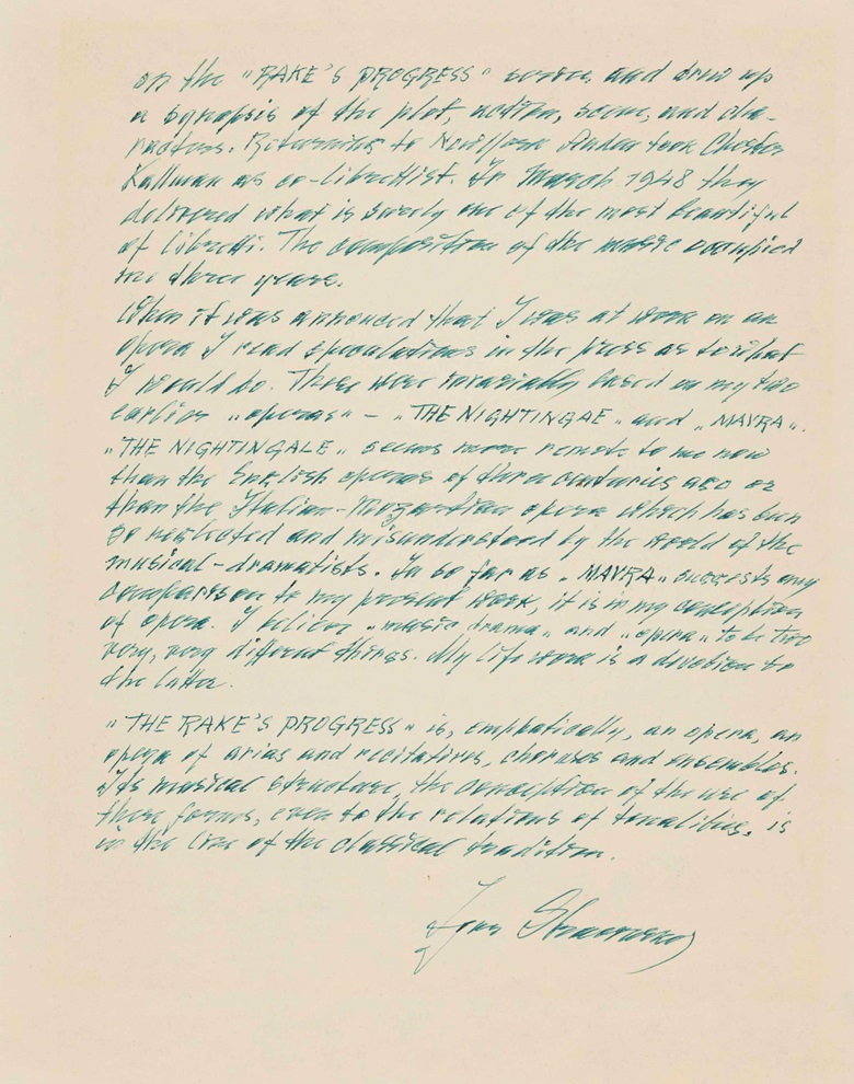 Igor Stravinsky (1882-1971). Autograph letter signed to an unidentifiable correspondent, n.p., n. d., c. 1951. One page, 4to (305 x 240 mm), (incomplete; final portion). (MOG 162). Estimate $1,500-2,200. This lot is offered in The Metropolitan Opera Guild Collection on 15 June 2017, at Christie's in New York