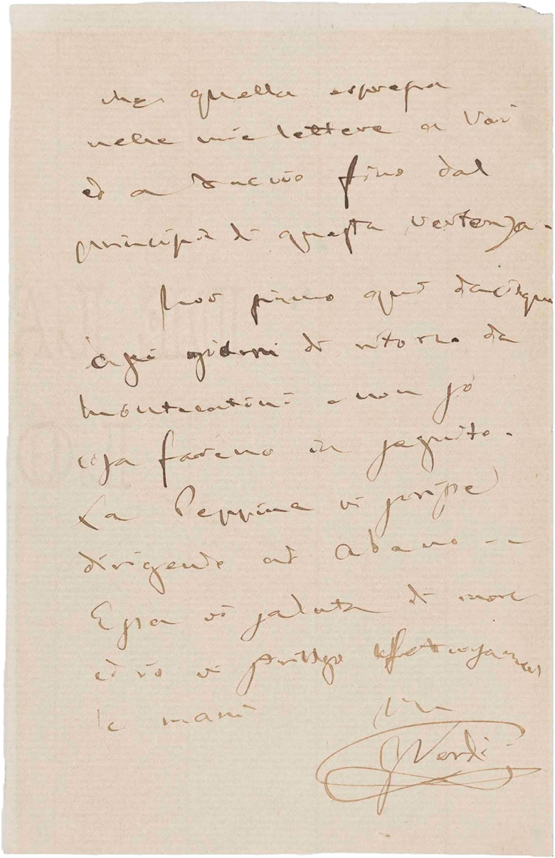 Giuseppe Verdi (1813–1901). Autograph letter signed to Romilda Pantaleoni, 3 July 1887, regarding the role of Desdemona. 3 pages, 12mo (170 x 110 mm). (MOG 174). Estimate $4,000-6,000. This lot is offered in The Metropolitan Opera Guild Collection on 15 June 2017, at Christie's in New York