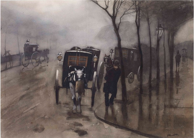 Willem Witsen (1860-1923), Carriages at the Victoria Embankment, London, circa 1890. Chalk, watercolour and gouache on paper, 485 x 680 mm. Estimate €15,000-25,000. This lot is offered in 19th Century & Modern Art on 13 June 2017 at Christie's in Amsterdam