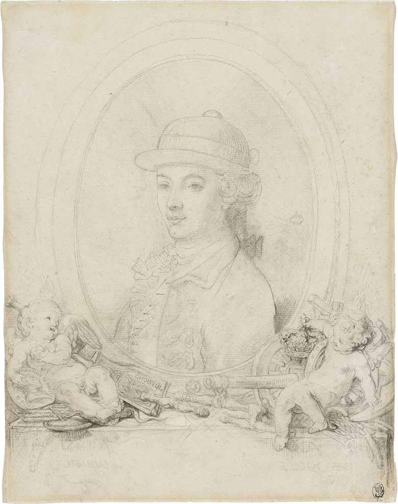 Gabriel-Jacques de Saint-Aubin, Portrait of King Louis XVI as Dauphin. Inscribed 'Louis IX Dauphin de France au duc de La Vauguyon CHOISEUL' and indistinctly inscribed at the ledge 'Louis Auguste' (in reverse). Black chalk and pencil, watermark crowned fleur-de-lys with a countermark M. 10⅞ x 8½ in (27.7 x 21.6 cm). This work was offered in Old Master & British