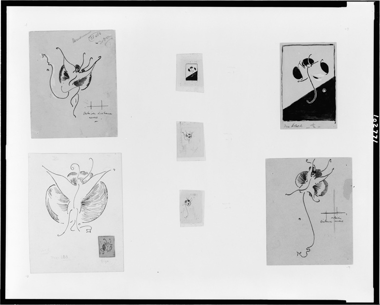 James McNeill Whistler (1834-1903), Butterfly designs, 1890-99. Seven drawings, pen and ink, white paint, and graphite, with four photomechanical print reproductions