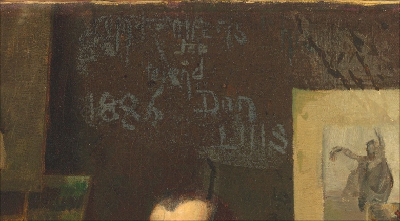Detail showing the signature, from	Thomas (Tom) William Roberts (1856-1931), Portrait of Louis Abrahams. Indistinctly signed, dedicated and dated Tom Roberts  for  friend  Don Luis  1886 (above the sitters head). Oil on canvas. 16 x 14 in (40.6 x 35.6 cm). Sold for £314,500 on 24 September 2015 at Christie's London