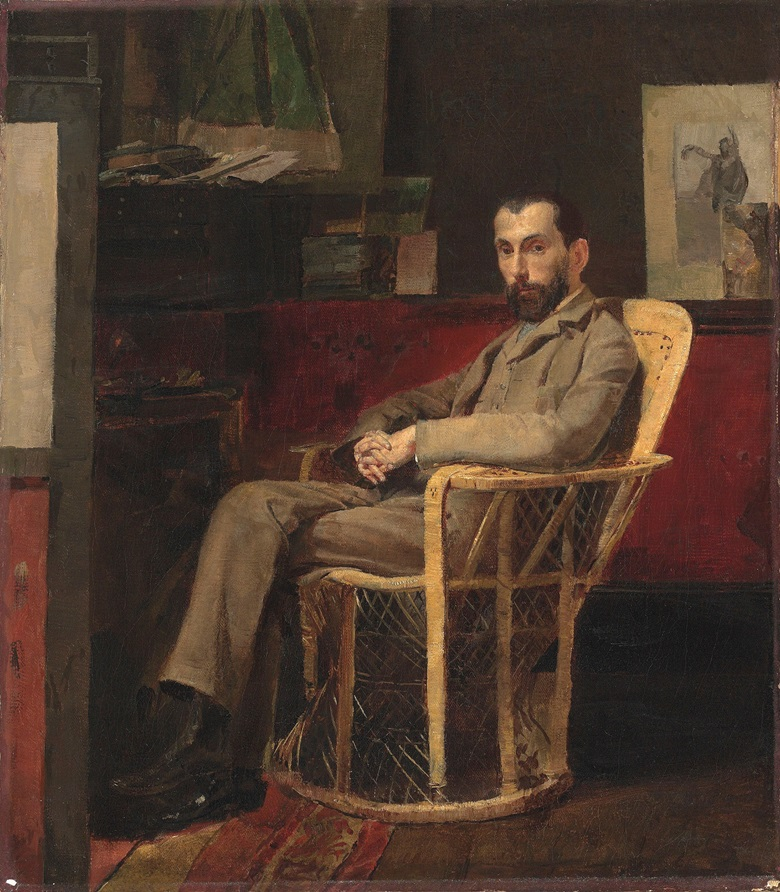 Thomas (Tom) William Roberts (1856-1931), Portrait of Louis Abrahams. Indistinctly signed, dedicated and dated Tom Roberts  for  friend  Don Luis  1886 (above the sitters head). Oil on canvas. 16 x 14 in (40.6 x 35.6 cm). Sold for £314,500 on 24 September 2015 at Christies London