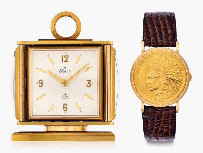 Eska & Relide. A fine 18k gold Ten Dollar Coin wristwatch and gilt-brass desk clock, belonging to American Major League Baseball legend Joe DiMaggio. Watch signed Eska, Ten Dollar Coin. Clock signed Relide, No. 1483923, 58 334. Circa 1965. Estimate $40,000-80,000. This lot is offered in Rare Watches and American Icons on 21 June 2017, at Christie's in New York