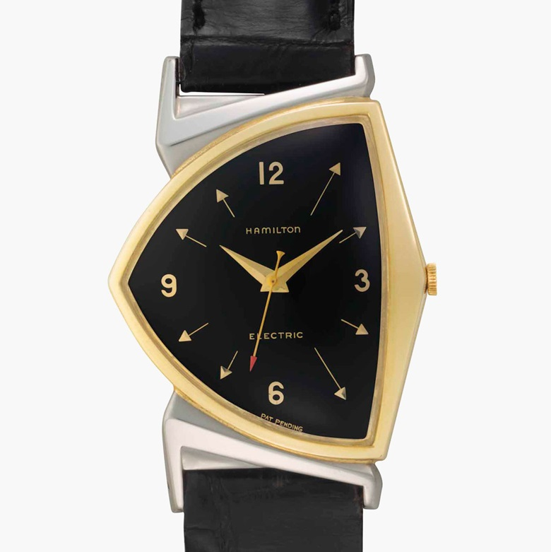 Hamilton. A fine and historically important two-tone gold filled asymmetrical wristwatch with centre seconds and black dial, belonging to the 36th President of the United States, Lyndon B. Johnson. Signed Hamilton, Electric, Pacer Model. Case No. S202360. Circa 1958. Estimate $15,000-30,000. This lot is offered in Rare Watches and American Icons on 21 June 2017, at Christie's in New York