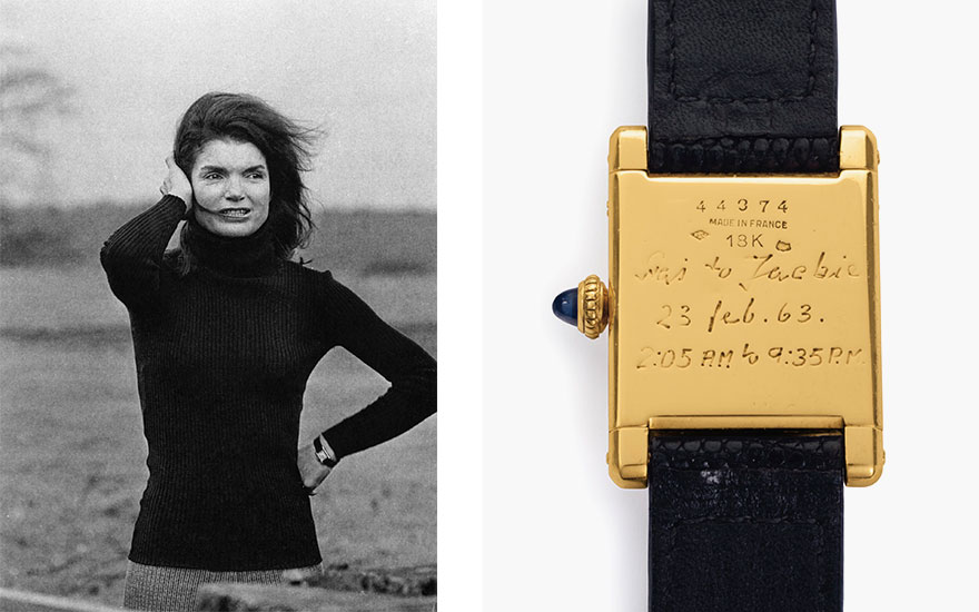 Cartier. A fine and historically important 18k gold square-shaped wristwatch, belonging to Jacqueline Kennedy Onassis. Signed Cartier, Tank Model, Movement No. 2117860, Case No. 44374, Manufactured in