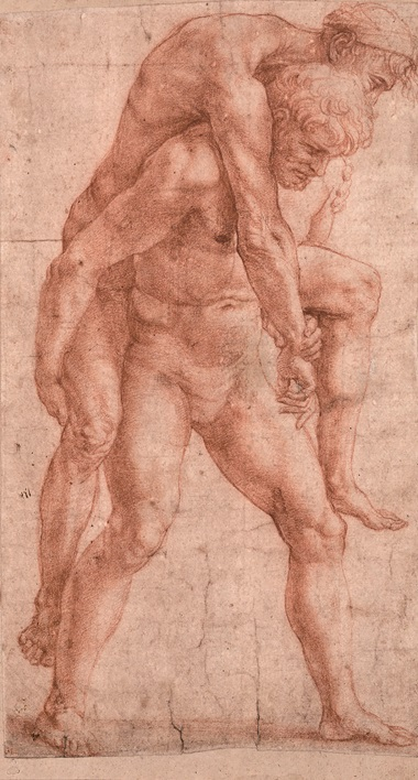 A Man Carrying an Older Man on His Back, c. 1513-14. Red chalk. 30 x 17.3 cm. © Albertina Museum, Vienna