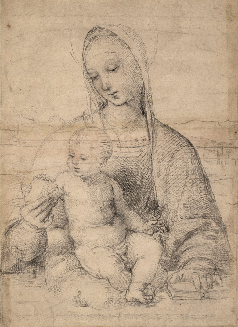 The Virgin with the Pomegranate, c. 1504. Black chalk with compass indentation for the halo. 41.2 x 29.4 cm. © Albertina Museum, Vienna