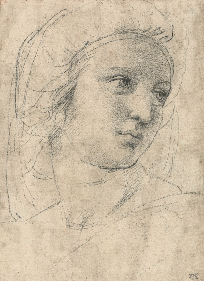 Head of a Muse, c. 1510-11. Black chalk over pouncing and some blind stylus. 30.5 x 22.2 cm. © Private collection
