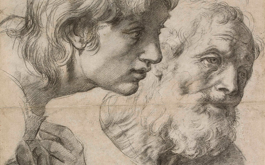 Detail from The Heads and Hands of Two Apostles, c. 1519-20. Black chalk with over-pounced underdrawing with some white heightening. 49.9 x 36.4 cm. © Ashmolean Museum, University of Oxford