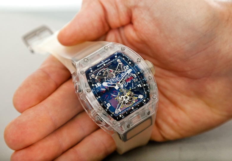 Richard Mille. An extremely fine and very rare sapphire split-seconds chronograph wristwatch with tourbillon and power reserve. Signed Richard Mille, Prototype No. 2, Ref. RM056, c. 2012. Sold for $1,207,500 on 21 June 2017 at Christie's in New York
