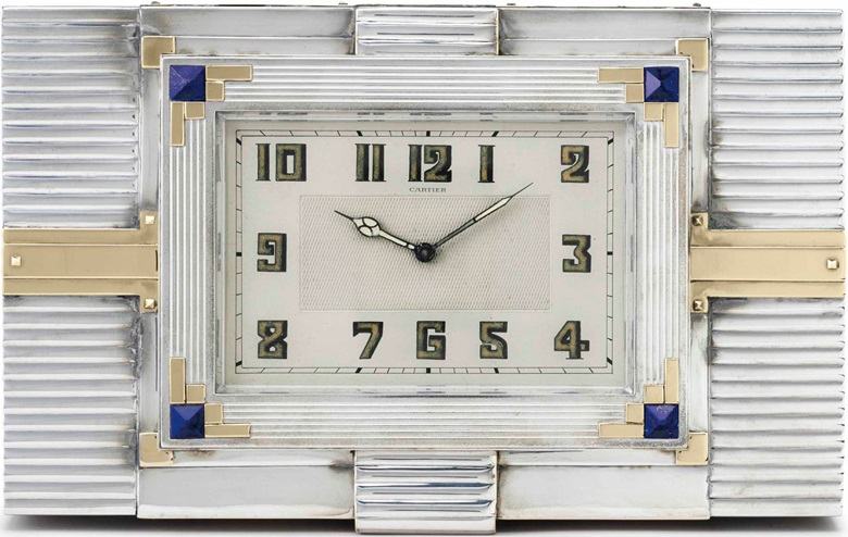 Cartier. A fine, large and attractive rectangular-shaped silver-plated, gilt and lapis lazuli desk clock and cigar box. Signed Cartier, European Watch & Clock Co., France, Movement No. 1598, circa 1940. Estimate $40,000-60,000. This lot is offered in Rare Watches and American Icons on 21 June at Christie's in New York