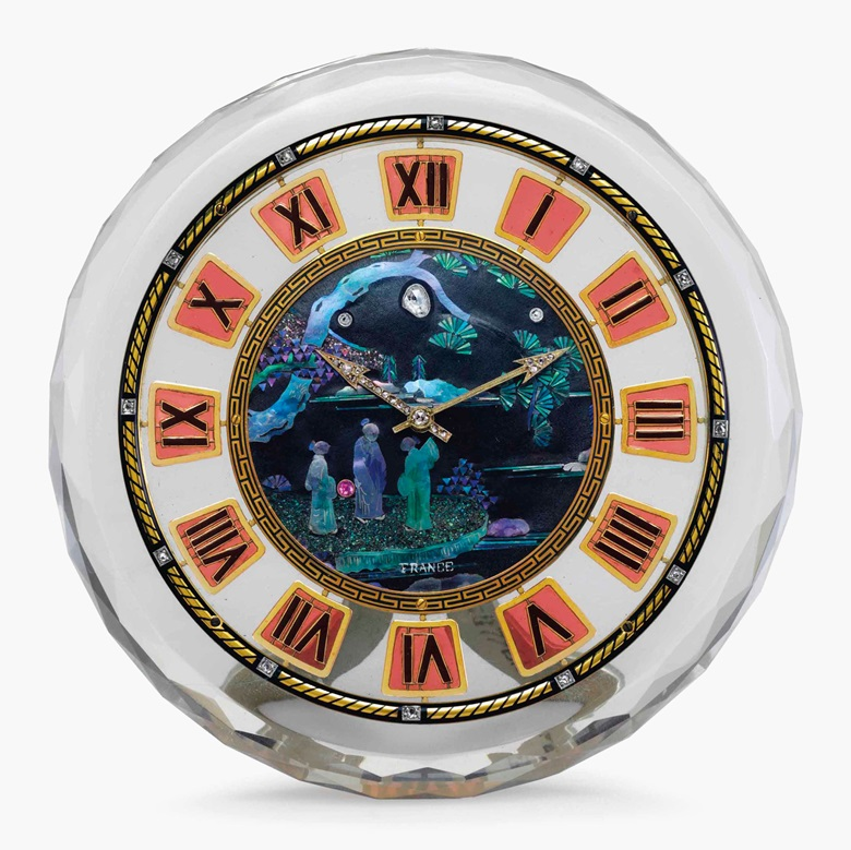 Cartier. A very fine 18k gold, rock-crystal, mother-of-pearl, enamel, diamond and gem-set desk clock. Signed Cartier, European Watch & Clock Inc., France, Case Nos. 3768 2060, 1135 0701, Movement No. 29787610, Circa 1925. Estimate $120,000-180,000. This lot is offered in Rare Watches and American Icons on 21 June at Christies in New York