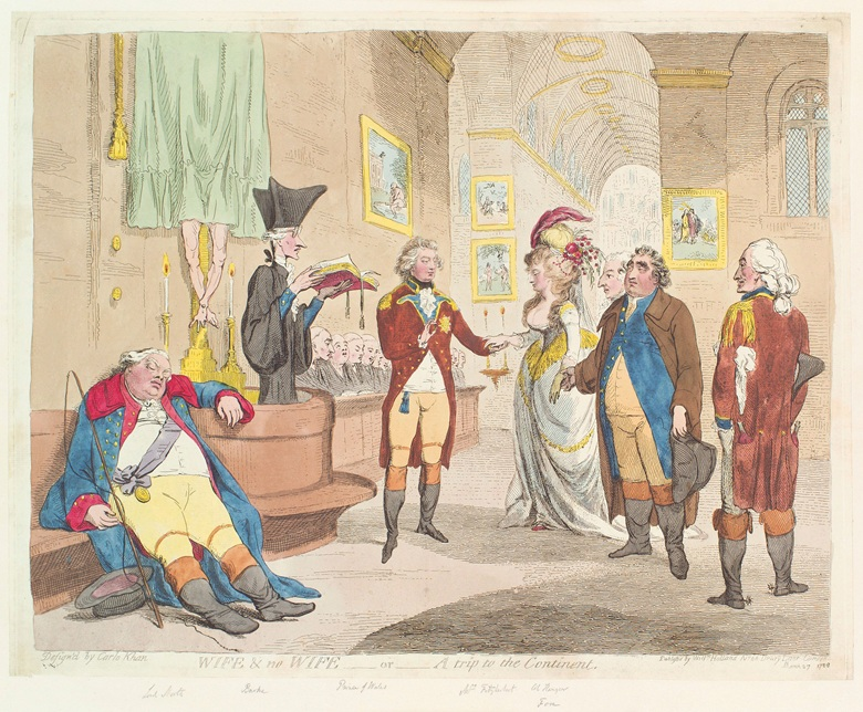 James Gillray (1756-1815), Wife & No Wife, or, A Trip to the Continent, 1786 © National Portrait Gallery, London. Rumours of the secret marriage of George IV led to speculation and a wave of satirical images. Here, the couple is seen in an imagined elopement in a Catholic church somewhere on the Continent. Charles James Fox (1749-1806) gives Maria Fitzherbert away, in loco parentis, while
