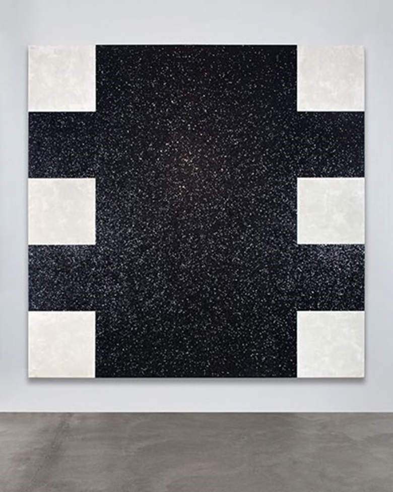 Mary Corse (b. 1945), Black Light Painting (Glitter Series), 1975. Metallic squares and acrylic on canvas. 107 x 107 in (271.8 x 271.8 cm). Courtesy the Artist, Lehmann Maupin, New York and Hong Kong, and Kayne Griffin Corcoran, Los Angeles