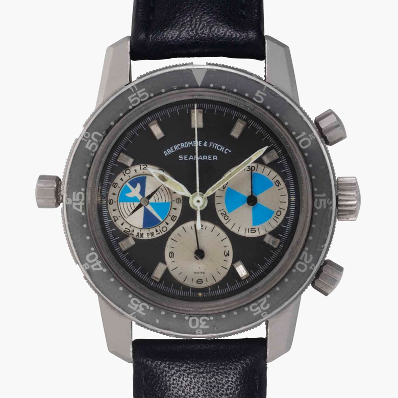 Heuer. A fine stainless-steel chronograph wristwatch. Signed Heuer, retailed by Abercrombie & Fitch, Seafarer Model, Ref. 2446 SF, Case No. 324504, circa 1974. Estimate $12,000-18,000. This lot is offered in Rare Watches and American Icons on 21 June 2017, at Christie's in New York