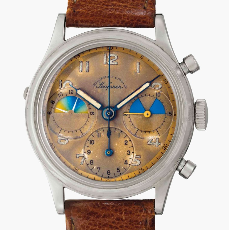 Heuer. A very rare and early stainless-steel chronograph wristwatch with 'tropical' dial. Signed Heuer, retailed by Abercrombie & Fitch, Seafarer Model, Ref. 346, Movement No. 752690, Case No. 80253, circa 1952. Estimate $20,000-30,000. This lot is offered in Rare Watches and American Icons on 21 June 2017, at Christie's in New York