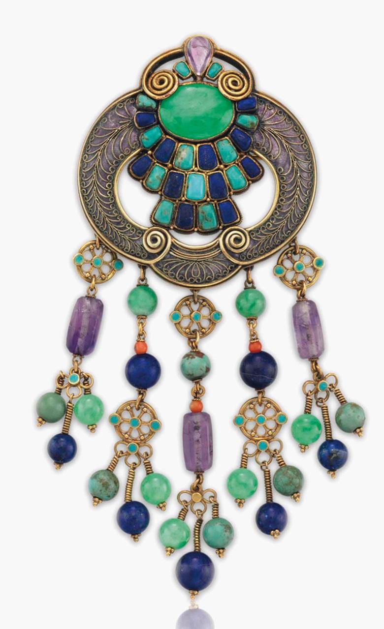 923704e5a A multi-gem, enamel and gold brooch by Louis Comfort Tiffany, Tiffany &